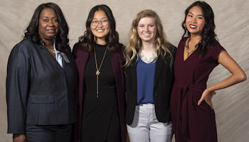 2019 Recipients: WIA Foundation Scholarship Winners (left to right): WIA Vice Chair Bridget Chatman, Kristen Susuki, Abigail Gries, and Michelle Lin
