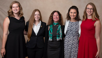2018 Recipients: WIA Foundation Scholarship Winners (left to right): Esther Putman, Julia Mihaylov, WIA Foundation President Dr. Rebecca Spyke Keiser, Madeline Koldos, and Katherine Melbourne